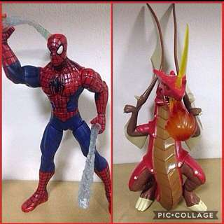 Spiderman and Globe Dragon with assorted Kiddie Meal toys