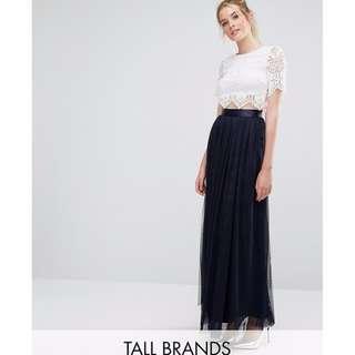 ASOS True Decadence Navy Tulle Maxi Skirt TALL