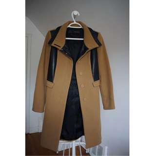 ZARA Camel Coat with Leather Accents Size XS