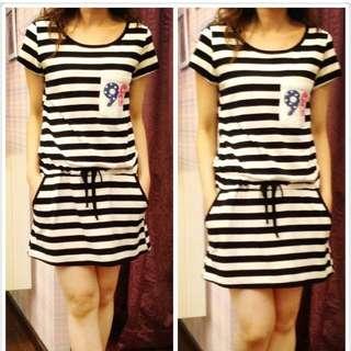 Tee dress - black n white stripes