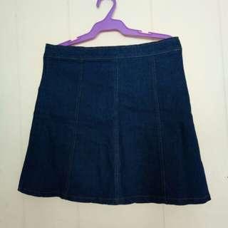 Maong skirt with magic side zipper