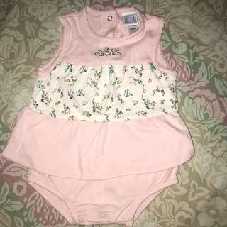 Branded overall dress for baby girl