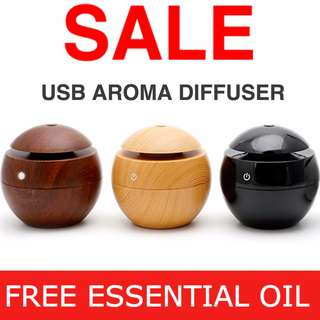 USB ESSENTIAL OIL DIFFUSER. AROMA HUMIDIFIER WITH LED LIGHTS & IONIZER. Christmas Gift and Present.