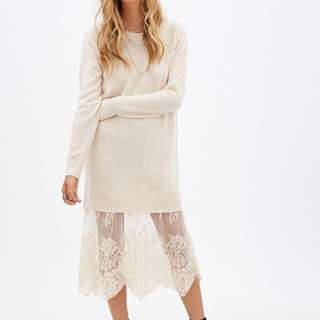Forever 21 pink sweater dress with lace