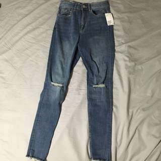 H&M Slim High-Waisted Distressed Jeans