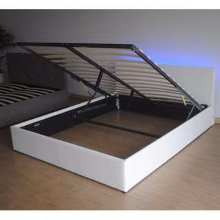 Gas lift Pu leather bed frame in double for sale. Black and white to choose