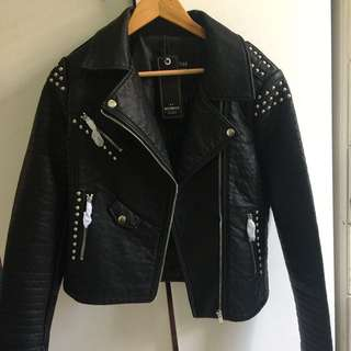 Faux leather jacket with tag