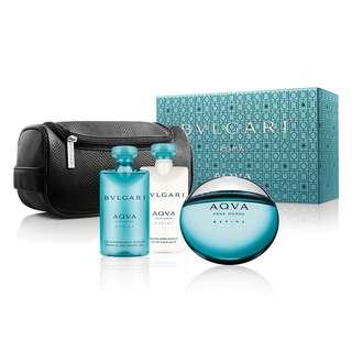 Bvlgari AQVA Marine Pour Homme 4 Pcs Gift Set for Men (100ml EDT+After Shave Balm 75ml+Shower Gel 75ml+Pouch) Bulgari Aqua