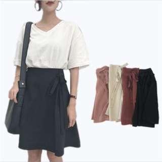 Cherry red flare tie skirt