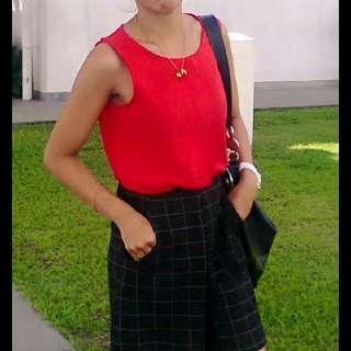 Mango Red blouse With Black Korean Pants.