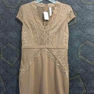 *NEW* M for Mendocino Nude Lace Mini Dress (Sz L)