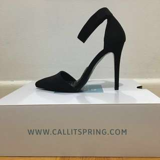 Call It Spring Faux Black Suede Pointy Toe Ankle Strap Heels (SZ 7)