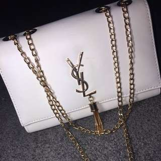 Ysl white and gold bag clutch wedding formal