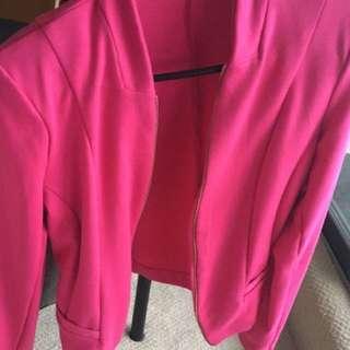 Bright pink fuschia blazer