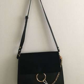 Black leather bag Chloe Faye inspired