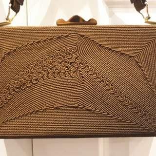 1930s cloche purse brown