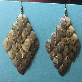 Aldo gold leaf chandelier hook earrings