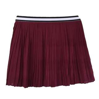 ZALORA - Maroon Pleated Skater Skirt