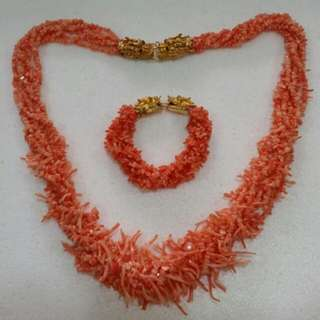 Natural Red Coral Necklace And Bracelet
