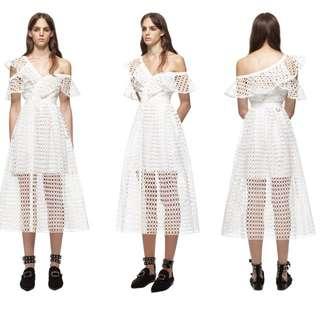 Authentic Self Portrait Lace Frill Midi Dress in White