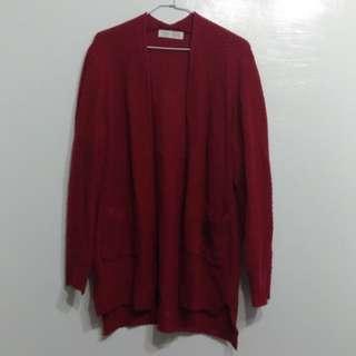 針織秋冬長版外套-正紅