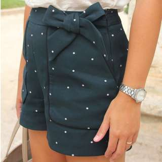 Zara Deep Green Poka Dot Shorts Size S