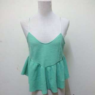 Zara Babydoll Vneck Top In Ocean Green