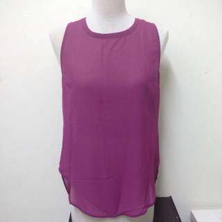 Banana Republic Pleated Back Fuchsia Top