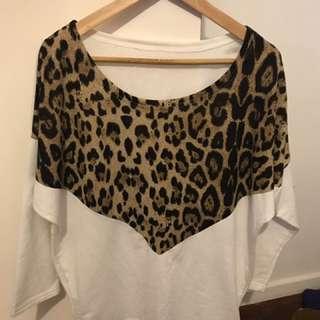 Leopard print batwing top