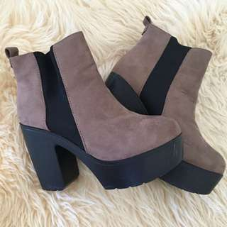 Chocolate brown boot heels