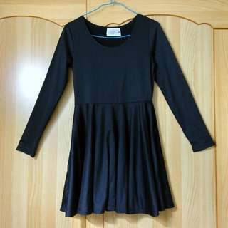 Mo-bo a s號黑色內搭長袖縮腰洋裝