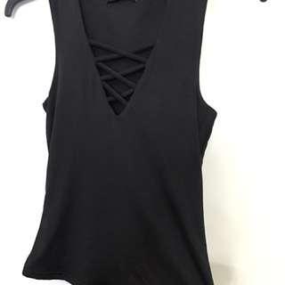 Black lace front top