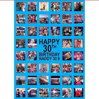Photo collage poster birthday gift card