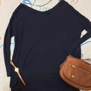 Uniqlo navy blue 3/4 sleeves oversized top