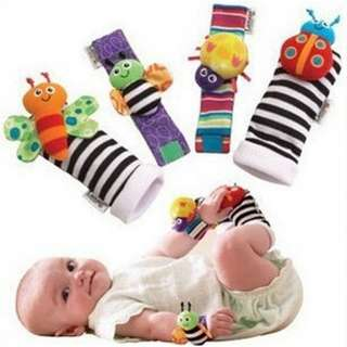 NEW INFANT BABY WRIST WATCHES FOOT SOCKS RATTLES GARDEN CUTE BUG