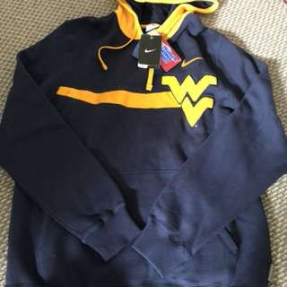 New Nike NCAA West Virginia navy hoodie small