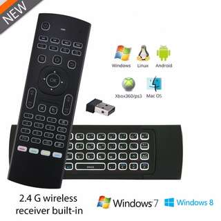 Wireless T3 Air Mouse Keyboard for Windows, Android, TV Box with LED Backlight
