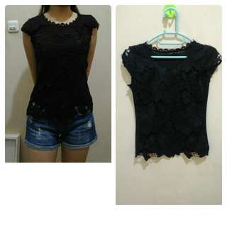 Black top brukat