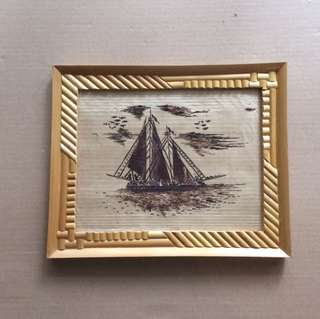 Bamboo craft Sailing boat picture frame
