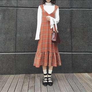 (降)復古 百搭 V領 魚尾 格紋 文青風 洋裝