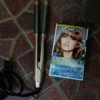 W elite straightening/curling iron with loreal hair color