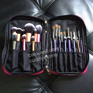 Makeup Brush Bag & Zip Pouch for Real Techniques big brushes eyeshadow blusher sculpting Brush and Sponge
