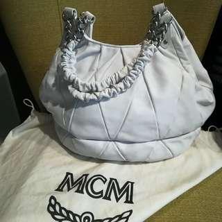 MCM White Full Leather Shoulder Bag