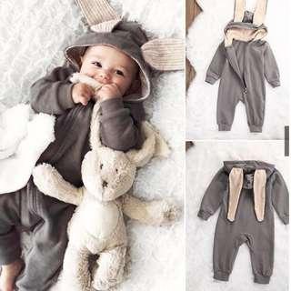 Newborn Baby Girl Boy Rabbit 3D Ear Romper Jumpsuit Bodysuit Outfits Clothes