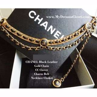 MINT 100%CHANEL黑色皮革金链CC Clover魅力腰带项链