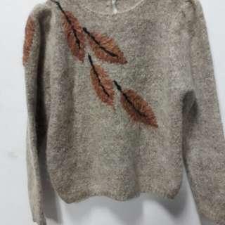 秋楓葉子刺繡 公主袖毛衣