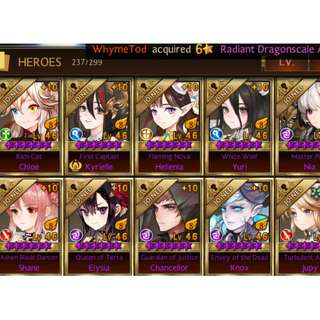Seven knights level 87 Asia Server account with almost unlimited Golds, Rubies, Topazes & Raid Mats New