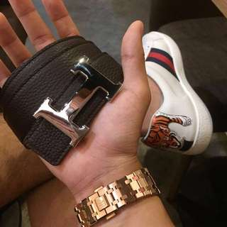 Handmade customized belt in Hermes Togo leather for client's H buckle