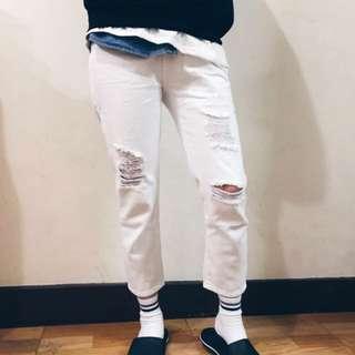 全新白色牛仔寬鬆褲
