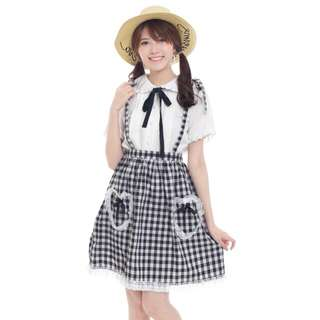 Self Check Black - Rok suspender kotak gingham hitam (Baju kawaii ala Jepang)